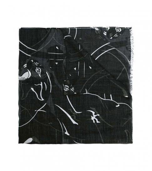 Valentino Garavani Black Panther Print Scarf