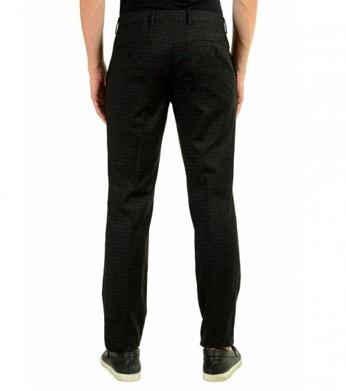 Hugo Boss Dark Grey Plaid Casual Pants