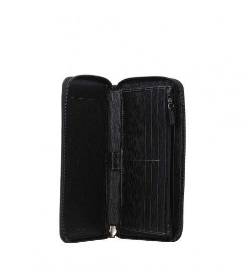 Salvatore Ferragamo Black Top Zipper Wallet