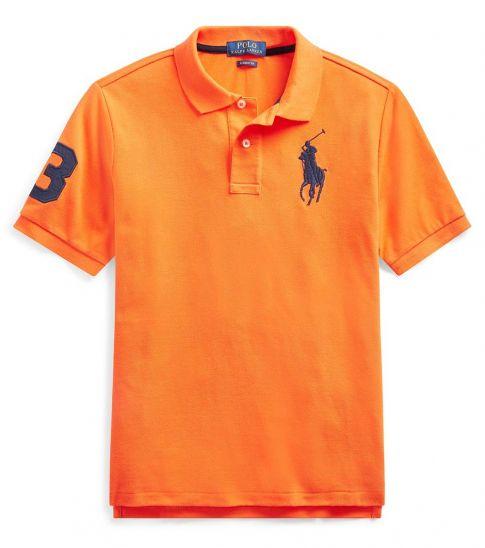 Ralph Lauren Boys Signal Orange Mesh Polo