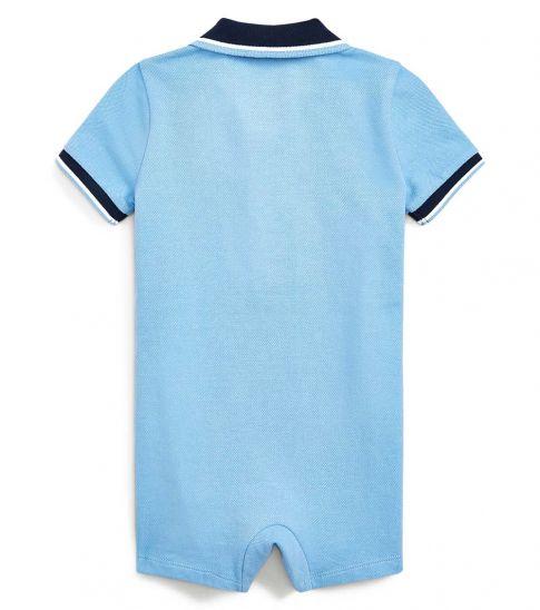 Ralph Lauren Baby Boys Blue Lagoon Mesh Polo Shortall
