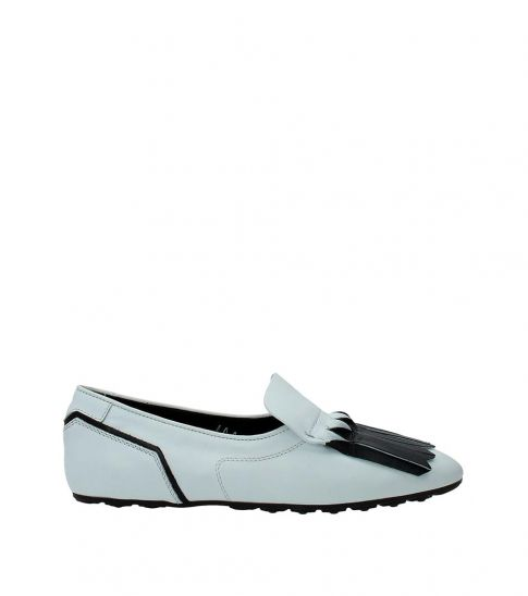 Tod's White Fringes Front Loafers