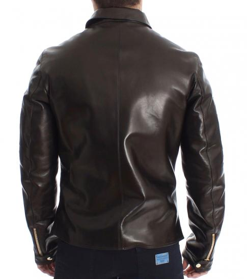 Dolce & Gabbana Brown Leather Zipper Jacket