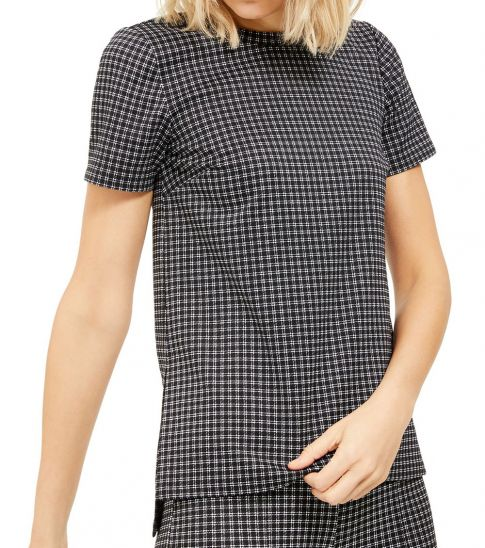 Michael Kors BlackWhite Micro Checkered Tunic Top