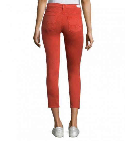 AG Adriano Goldschmied Orange Burnt Prima Skinny Ankle Jeans