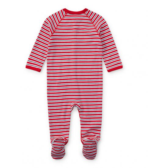 Ralph Lauren Baby Boys Red Striped Coverall