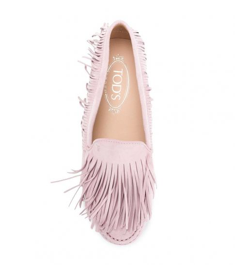 Tod's Pink Fringes Detail Loafers