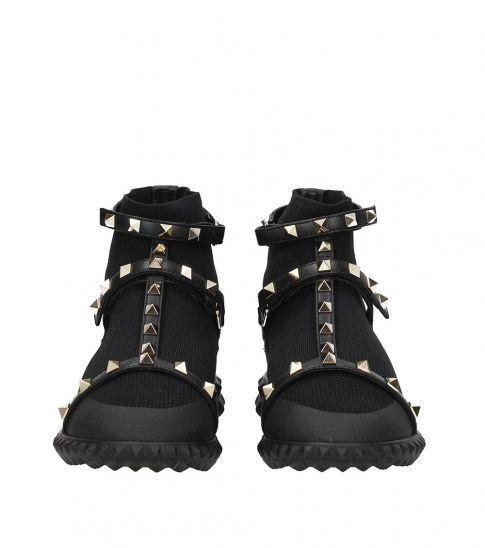 Valentino Garavani Black Studded Strap Sneakers