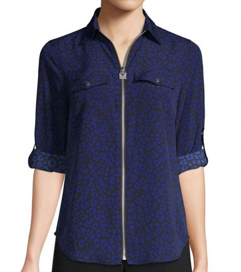Michael Kors Royal Blue Printed Full-Zip Shirt