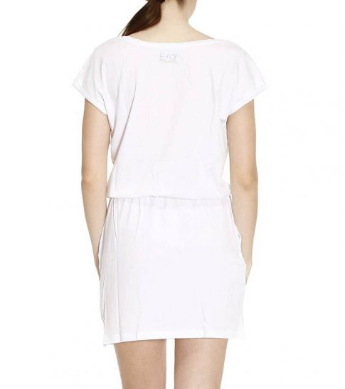 Emporio Armani White Solid Logo Dress