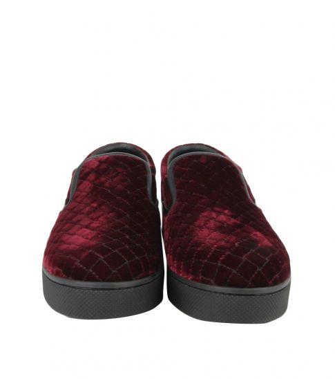 Bottega Veneta Dark Red Velvet Loafers