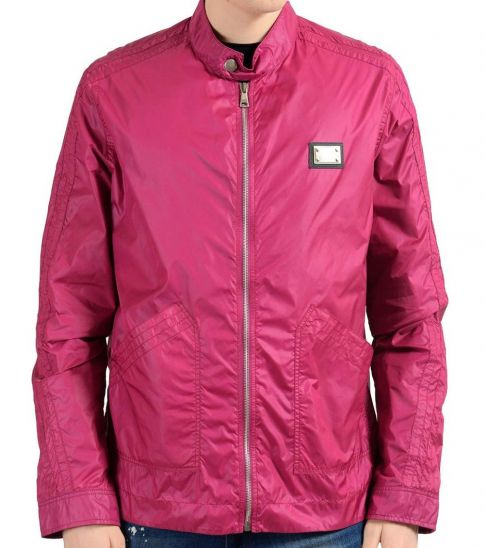 Dolce & Gabbana Raspberry Full Zip Windbreaker Jacket