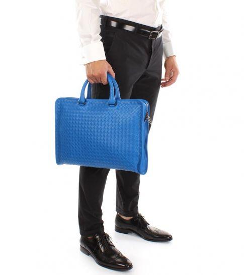 Bottega Veneta Light Blue Braided Large Briefcase Bag