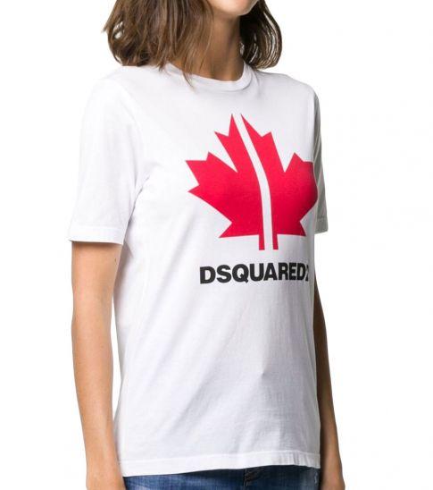 Dsquared2 White Maple Leaf Logo Tee