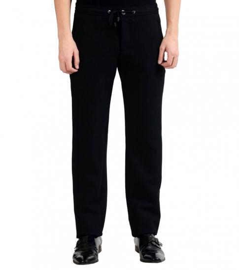 Versace Collection Black Flat Front Casual Pants