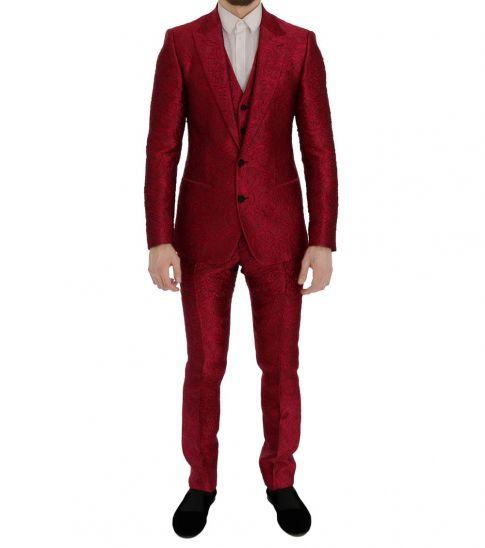 Dolce & Gabbana Pink Jacquard Slim Fit Two Button Suit