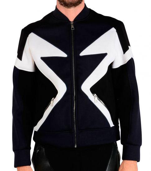 Neil Barrett Multi Color Zipped Bomber Fit Sweatshirt