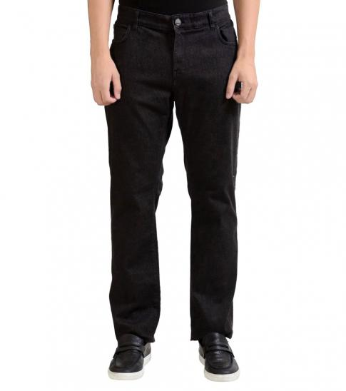 Versace Collection Black Leather Trimmed Jeans