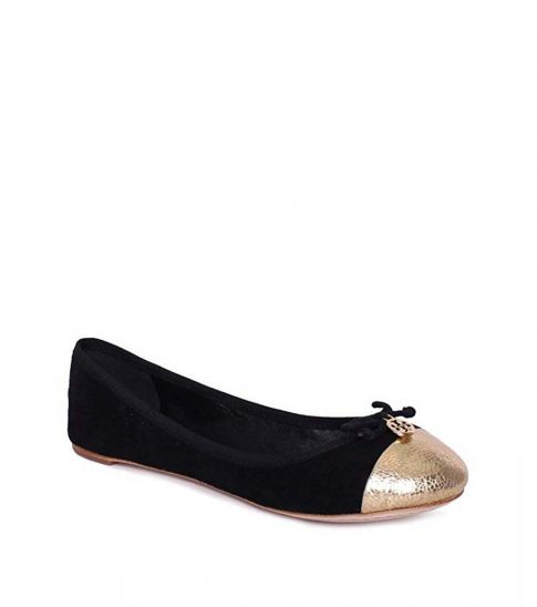 Tory Burch Black Gold Chelsea Ballet Flats