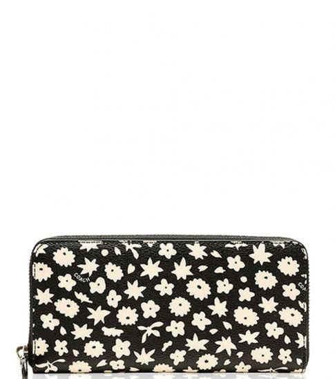 Coach Black Graphic Floral Wallet