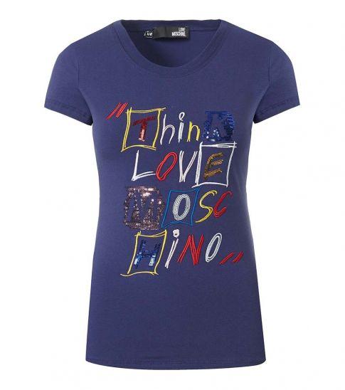 Love Moschino Blue Flashy Logo Crew Neck T-Shirt