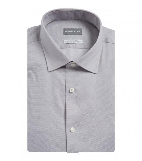 Michael Kors Grey Regular Fit Airsoft Stretch Dress Shirt