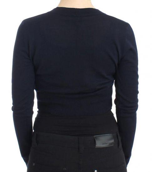 Cavalli Class Blue Cropped Wool Cardigan