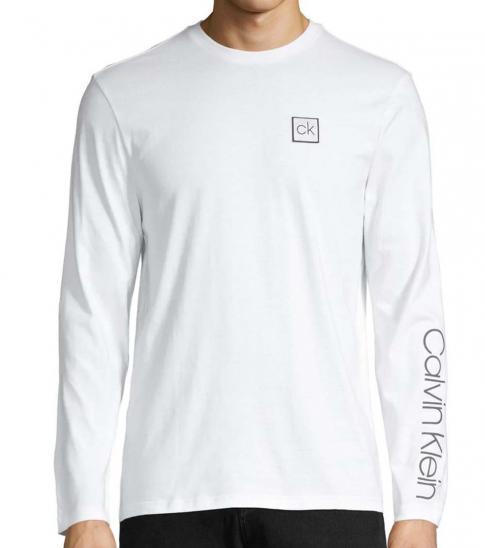 Calvin Klein White Long-Sleeve Logo T-Shirt