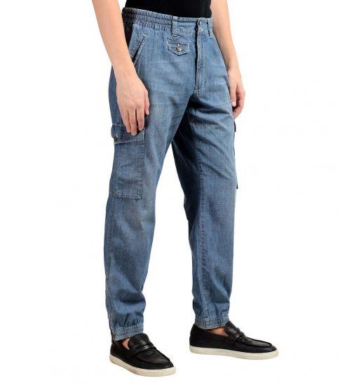 Dolce & Gabbana Blue Denim Cargo Casual Pants