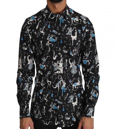 Dolce & Gabbana Black Jazz Motive Print Gold Shirt