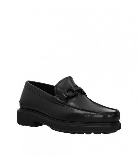 Salvatore Ferragamo Black Front Logo Loafers