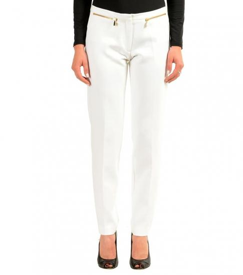 Versace Collection White Zipped Casual Pants
