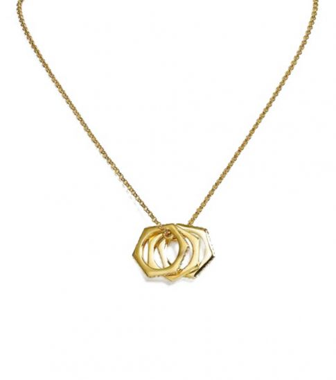 Ralph Lauren Gold Sliding Hexagon Pendant Necklace