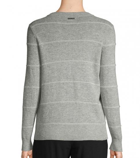 Michael Kors Grey Striped Cotton Sweater