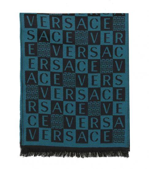 Versace Teal Black Checkerboard Signature Scarf