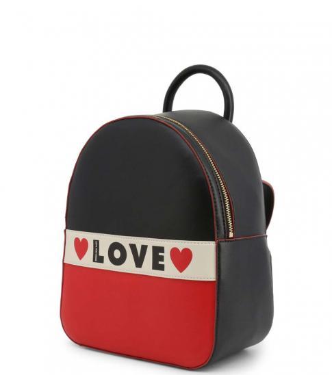 Love Moschino Black Logo Stripe Small Backpack