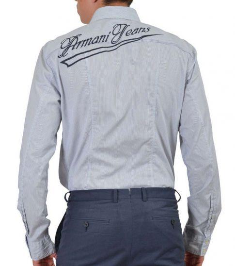 Armani Jeans Blue Striped Long Sleeve Dress Shirt