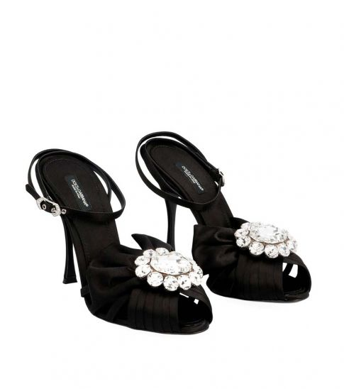 Dolce & Gabbana Black Ankle Strap Bow Heels