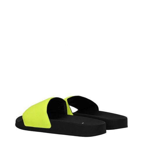Marcelo Burlon Yellow Front Logo Slippers