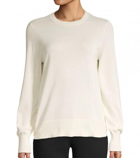 Michael Kors White Crewneck Cotton-Blend Sweater