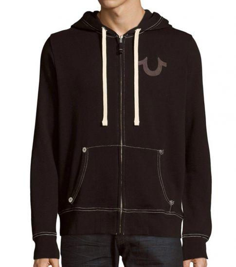 True Religion Black Classic Logo Zip-Up Hoodie
