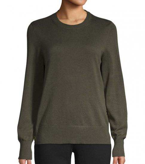 Michael Kors Olive Crewneck Cotton-Blend Sweater
