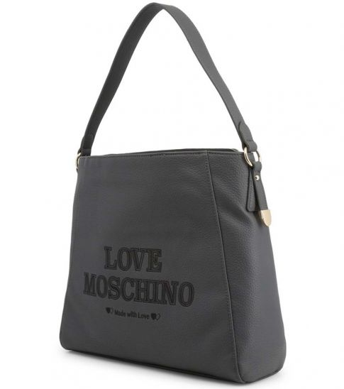 Love Moschino Grey Made With Love Large Hobo