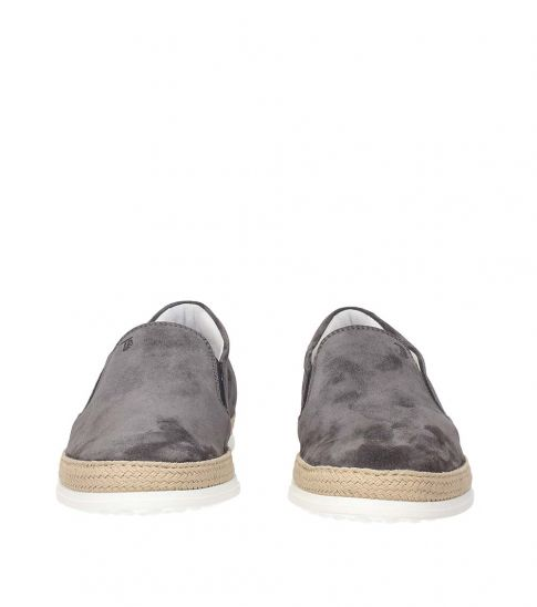 Tod's Grey Suede Loafers
