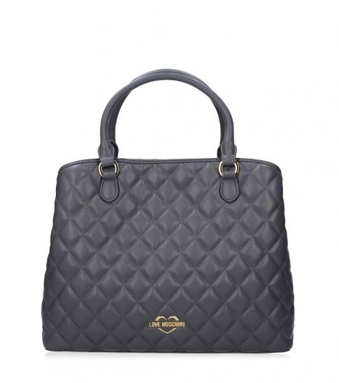 Love Moschino Grey Quilted Medium Satchel
