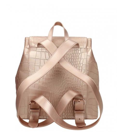 Love Moschino Rose Gold Textured Small Backpack
