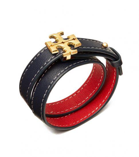 Tory Burch Royal Navy-Red Double-Wrap Bracelet