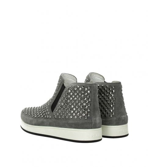 Prada Grey Studded Slip On Sneakers