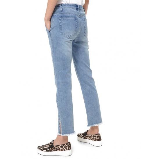 Michael Kors Light Blue Denim High-Rise Split-Hem Jeans