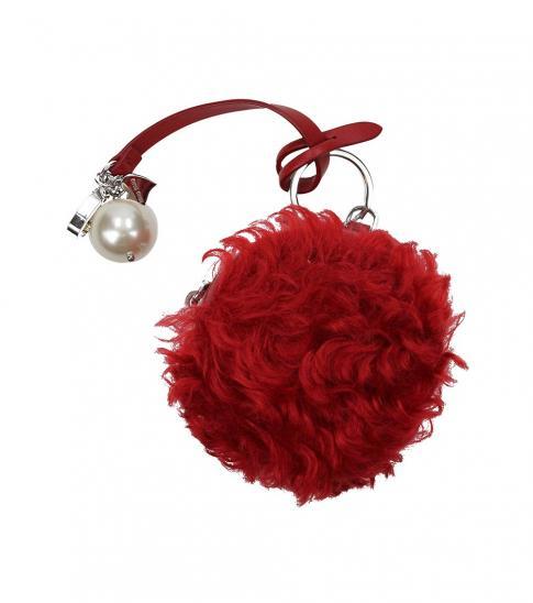 Miu Miu Red Fur Pearl Key Holder